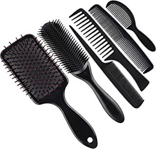 SIQUK 6 Pieces Hair Brush Comb Set Paddle Brush Detangle Hair Brush and Black Combs for Men and Women Wet, Dry, Curly and Straight Hair