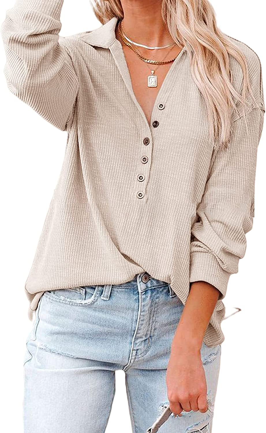 Bengbobar Womens Casual V Neck Tops Long Sleeve Plain Knitted Blouse Loose Shirts with Pocket