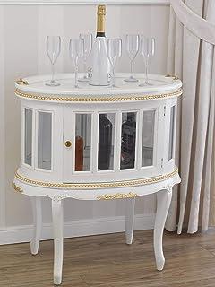 SIMONE GUARRACINO LUXURY DESIGN Table Basse Coloniale Ovale vitrine Bar casier Porte-Bouteilles Style Baroque Décapé Ivoir...