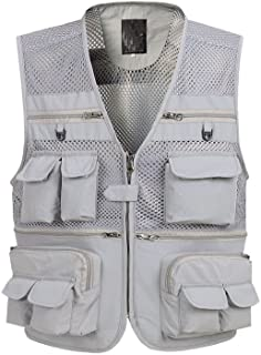 Flygo Mens Mesh Outdoor Work Fishing Travel Photo Vest with 16 Pockets Khaki