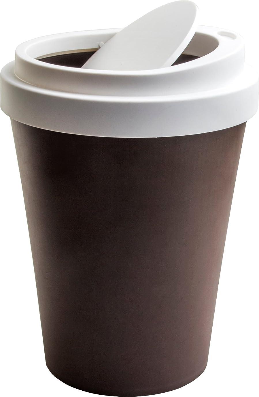 晩ごはん対応雇用QUALY フタ付きゴミ箱 コーヒービン ブラウン 5217043BR