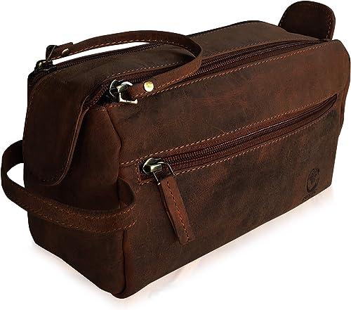 Genuine Leather Handmade Toiletry Bag Portable Travel Dopp Kit for Men & Women, Hanging Zippered Makeup Organizer Bag...