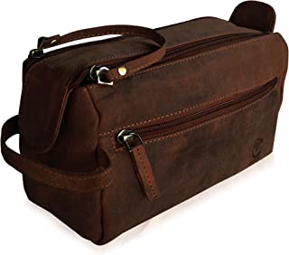Handmade Buffalo Genuine Leather Toiletry Bag Dopp Kit Shaving and Grooming Kit for Travel ~ Men Women ~ Hanging Zippered Makeup Bathroom Cosmetic Pouch Case by Rustic Town