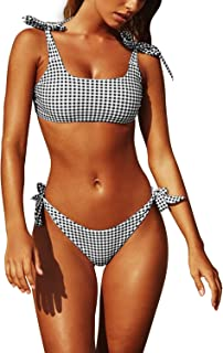 Womens Two Piece Swimsuits Tie Knot Padded Push Up Brazilian Thong Cheeky Bikini Set