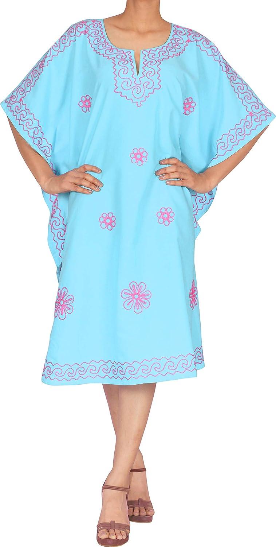 LA LEELA Women's Midi Kaftan Dress Tops Beach Swimwear Cover Ups Embroidery A