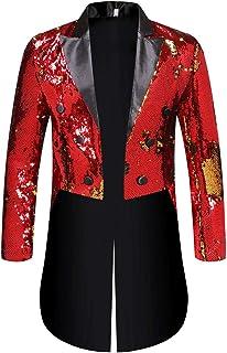 Mens Tuxedo Slim Fit Glittery Suit Lapel Blazer Party Prom Clubwear Multicoloured Sequin Suits Long Style Jacket