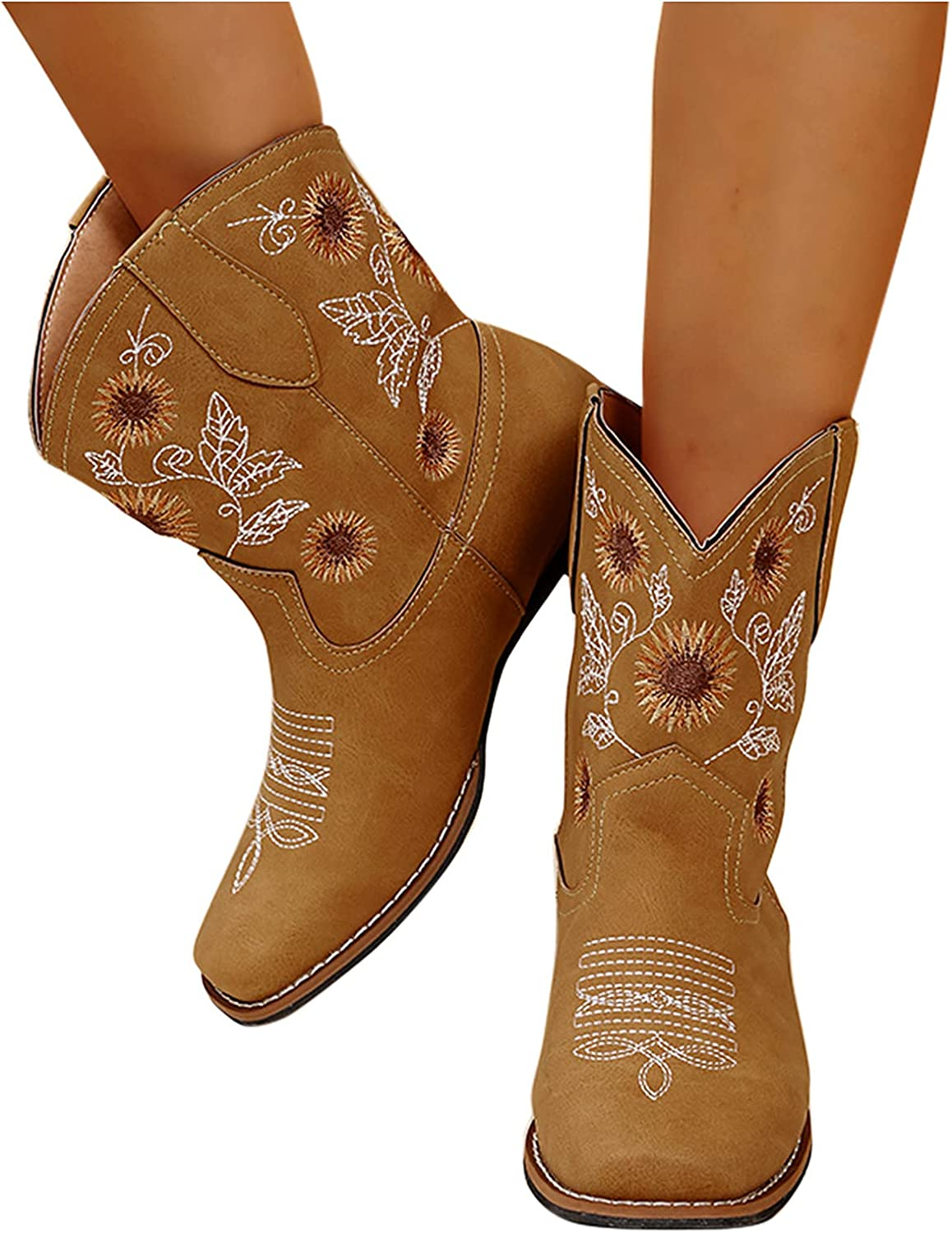 Olymmont Cowboy Mid Calf Boots for Women Sunflower Embroidery Square Toe Boots Stitched Distressed Fashion Warm Cowgirl Country Modern Western Boots (Yellow, 9.5-10)