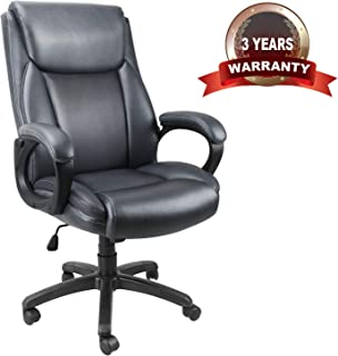 Mysuntown Executive Home Office Chair - High Back PU Leather Swivel Heavy Duty Task Chair with Padded Arms & Lumbar Support, Ergonomic Adjustable Reclining Desk Computer Chair (Grey)