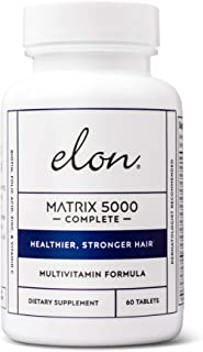 Elon Matrix 5000 Complete Multivitamin with 5000 Mcg Biotin & Niacinamide   Recommended by Dermatologists for Healthier & Stronger Hair   Pharmaceutical-Grade Ingredients & For All Hair Types, 60 Tabs