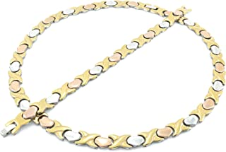 NEW 11mm Width Womens Three Tone (Gold Rose & Silver) XOXO Stampato Necklace and Bracelet Set 18/20