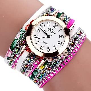 Hunputa 2016 New Watches Women Flower Popular Quartz Watch Luxury Bracelet Women Dress Lady Gift Flower Gemstone Wristwatch (Hot Pink)