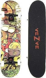 veZve Skateboard Pro Complete 31 inch Skateboard Maple Wood Double Kick Tricks for Teens Adults Beginners 220lb