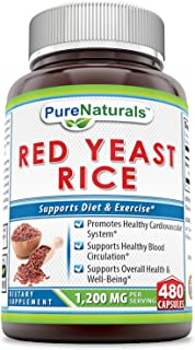 Pure Naturals Red Yeast Rice 1200 Mg 480 Capsules, Promotes Healthy Cardiovascular System, Supports Healthy Blood Circulat...