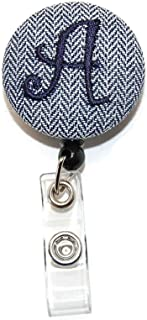 Herringbone Monogrammed Your Choice of Letter Badge Reel Retractable for ID or Key Card