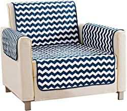 Quick Fit Geometric Printed Reversible Water Resistant Chair Living Room Couch Cover, Navy