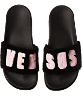 Versus Versace - Footbed Sandal Rubber Sole H.20+Leather Lettering Pelo Curly