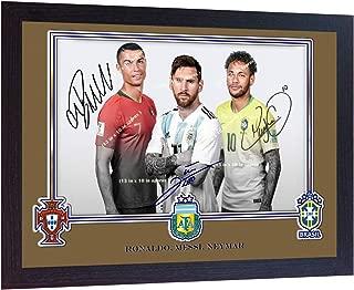 S&E DESING Ronaldo Juventus Portugal Messi Neymar Cristiano Ronaldo Messi Signed Photo Print Autographed Framed