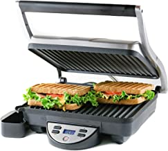 """OVENTE GP1000BR Electric Panini, 10.2 × 9"""" Non-Stick Plates, 1500W, Digital LCD Display, Timer & Auto Shut-Off, Free Grill, Brushed Silver"""