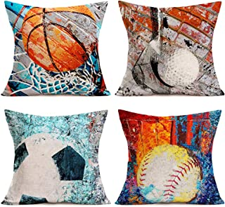 Asminifor Sports Series Throw Pillow Covers 4Pack Retro Rusty Wall Brick Background with Vintage American Popular Basketball Football Softball and Golf Pillow Covers Cotton Linen Home 18