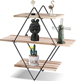 KAThome 4U 3-Tier Floating Shelves, Paulownia Wood and Metal Wall Shelves, Rhombic Wall Mounted Shelves, Rustic Shelves for Living Room, Bedroom, Home Office and More, Gift for Family and Friends