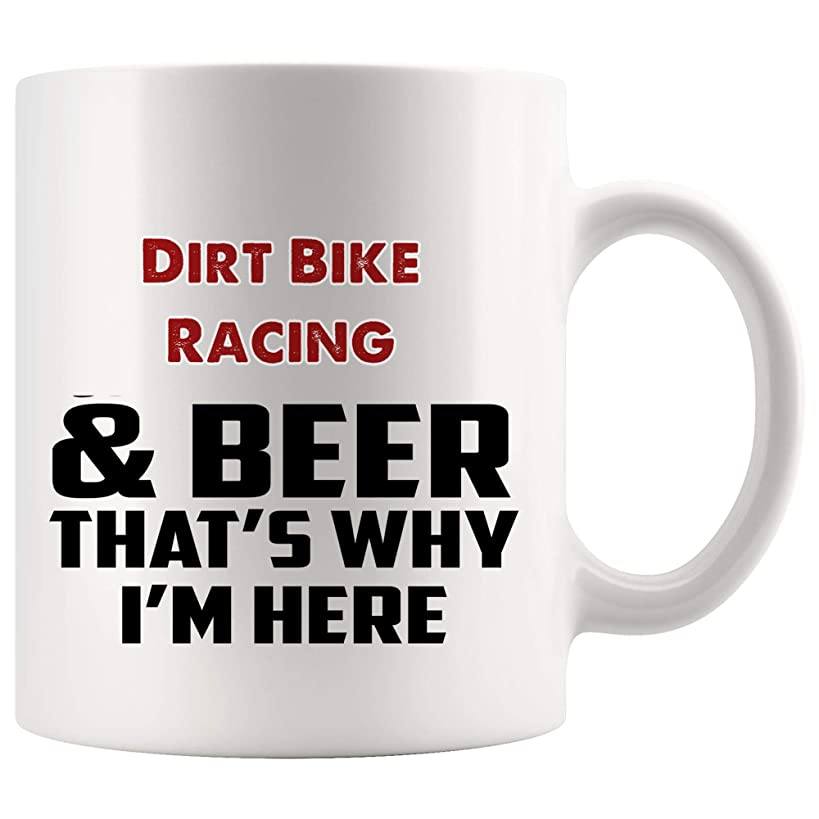 Beer And Dirt Bike Racing Mug Coffee Cup Tea Mugs Gift -That's Why I'm Here Player Dirtbike Sport Coach Motorcyclist Trainer Men Motocross Race Funny Gifts