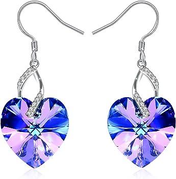 J.Rosee Heart Earrings w/925 Sterling Silver & 3A Cubic Zirconia Crystal