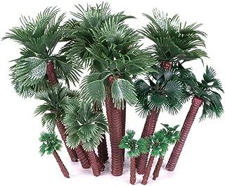 Ymeibe 20 PCS Model Palm Trees Mini Layout Rainforest Plastic Train Coconut Palm Tree Diorama Miniature Landscape Trees