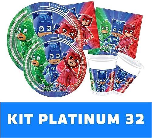 gran descuento PJ Masks Kit TIPILIANO para Niños     Birthday Party Kit, Pigiamini   Producto Original   Formato de conveniencia   Todo LO Necesita   Fiesta temática, cumpleaños   Kit Platinum 32  elige tu favorito