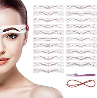 Eyebrow Stencil, Reusable Eyebrow Shaper Stencils, 21 Fashionable Styles Elaborate Eyebrow Templates, Include Thick and Th...