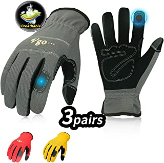 Vgo 3-Pairs Synthetic Leather Work Gloves, Multi-Purpose Light Duty Work Gloves,..
