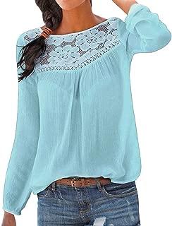 Femmes Top Mode Casual Patchwork T-Shirt Hem Top Chemisier /à Manches Longues Pas Cher Chic Blouse T-Shirt Col o /Él/égant Haut Tops Dentelle Tunique Lche Grande Taille Pullover S-XXL