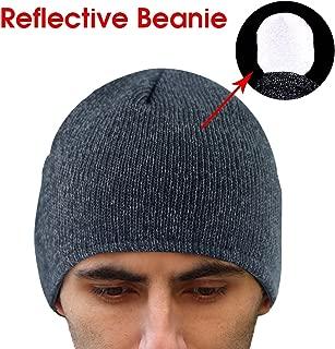 EZGO 保暖反射针织冬季无檐帽,中性冬季反光跑步帽,夜间能见度*跑步。