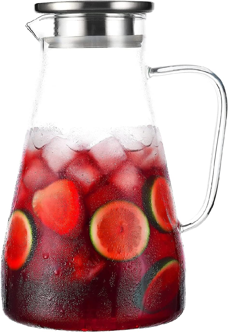 Tbgllmy 2 Liter 68 Ounces Glass Pitcher With Lid, Hot&Cold Water Pitcher With Handle, for Homemade Beverage, Juice, Iced Tea and Milk