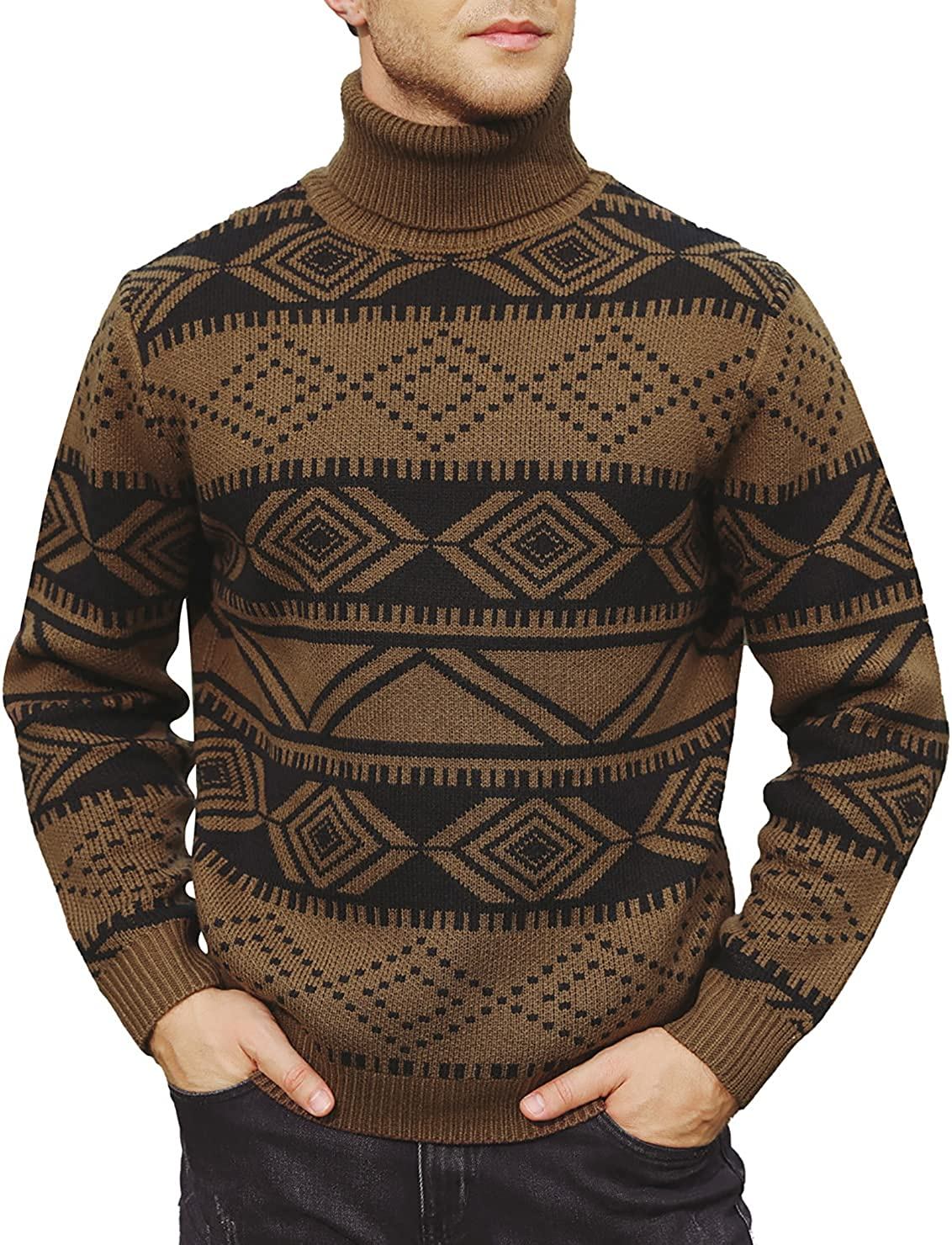 PJ PAUL JONES Mens Casual Slim Fit Turtleneck Sweater Cable Knit Thermal Pullover Sweaters