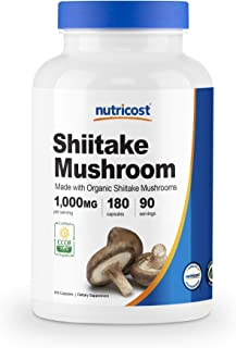 Nutricost Organic Shiitake Mushroom Capsules 1000mg, 90 Servings - Certified CCOF Organic, Vegan, Gluten Free, 500mg Per C...