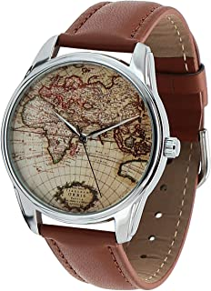 World Map Watch, Brown Map Wrist Watch, Travel Map Watch, Every Watch Comes in A Beautiful Gift Box and with an Additional Band