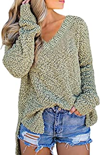 KLFGJ Ladies Loose Knitted Pullover V-Neck Long Sleeve Sweatshirts Women Leisure Pullovers Casual Tops