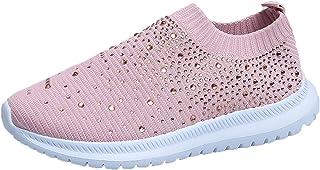 Chaussures Femme Ete Confortable Pas Cher Soldes Baskets Basses Plate Running Sport Respirant Mesh Chaussette Fille à enfi...