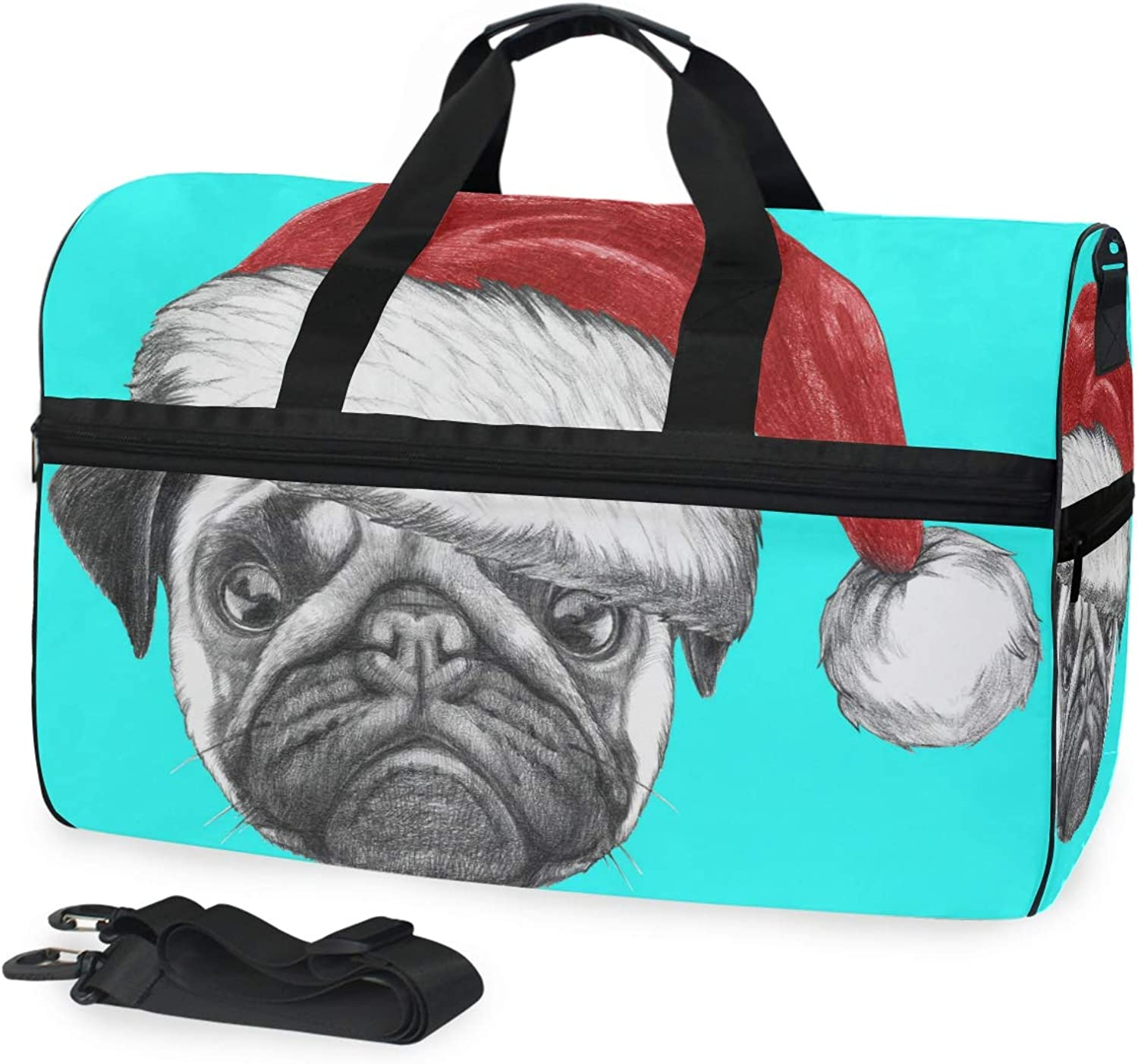 DEZIRO 45L Travel Duffel Bag Portrait of Pug Dog with Santa Hat Large Weekender Bag with shoes Compartment