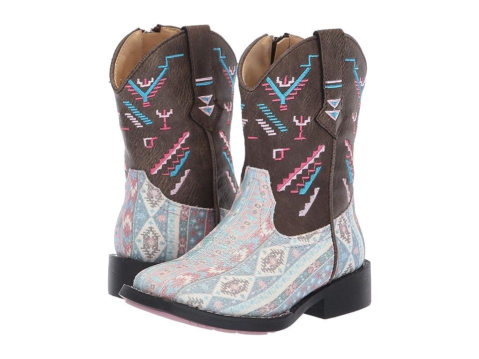 Roper Kids Glitter Azteka (Toddler) (Multicolor Aztec Glitter Vamp Embossed) Cowboy Boots