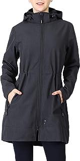 Women's Softshell Jacket with Removable Hood Fleece Lined Windbreaker Insulated Long Warm Up Jacket