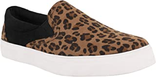 LAICIGO Women's Fashion Sneakers Slip-on Platform Closed Toe Low Cut Elastic Band Snakeskin Flat Shoes
