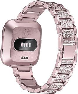 bayite Bling Bands Compatible with Fitbit Versa/Versa 2 for Women, Dressy Metal Bracelet Rhinestone Jewlery Wristband