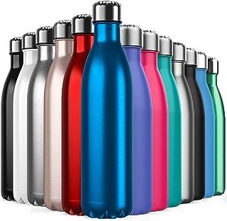 BICASLOVE Botella de Agua de Acero Inoxidable,Diseño de Pared Doble,Boca Estándar,para Correr,Gimnasio,Yoga,Ciclismo
