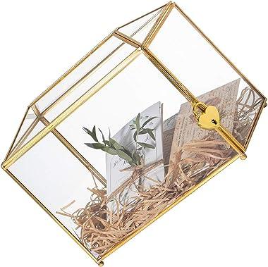 Grande boîte à cartes géométrique en verre avec fente et verrou en forme de cœur Doré