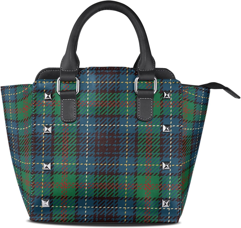 My Little Nest Women's Top Handle Satchel Handbag Traditional Green Tartan Pattern Ladies PU Leather Shoulder Bag Crossbody Bag