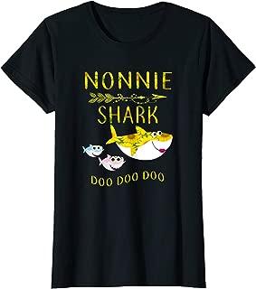 Womens Sunflower Nonnie Shark Doo Doo Shirt Funny Gift Nonnie