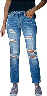 HINK Pantalones de Talla Grande, Pantalones de Mezclilla Largos con Degradado Rasgados de Cintura Media Ajustados de Talla...