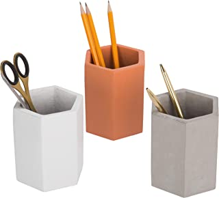 MyGift Set of 3 Multicolor (Grey, Brown, White) Clay Pencil Holder