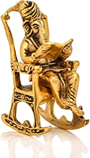 Collectible India Metal Lord Ganesha Reading Ramayana Statue Hindu God Ganesh Ganpati Sitting on Chair Idol Sculpture Home...